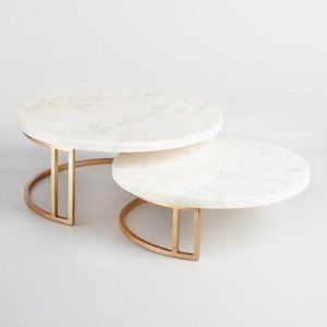World Market Gold And Marble Pedestal Stand